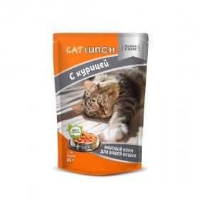 Cat Lunch консервированный корм для кошек кусочки в желе с курицей 85 г