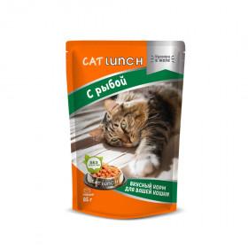 Cat Lunch консервированный корм для кошек кусочки в желе с рыбой 85 г