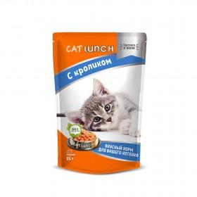 Cat Lunch консервированный корм для котят кусочки в желе с кроликом 85 г