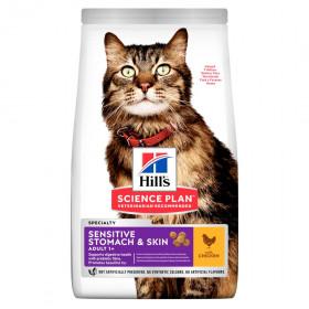 Hill's Science Plan Sensitive Stomach & Skin сухой корм для кошек с чувствительным пищеварением и кожей, с курицей