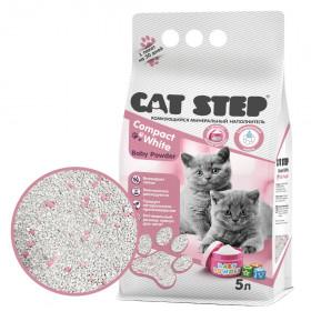 CAT STEP Compact White Baby Powder наполнитель комкующийся для котят, 5л