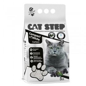 CAT STEP Compact White Carbon комкующийся минеральный наполнитель, 5 л