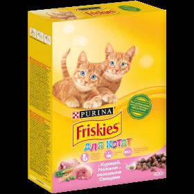 Purina Friskies, Сухой корм Friskies для котят до года, с курицей, молоком и полезными овощами, Пакет