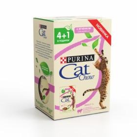 Purina Cat Chow, влажный корм, набор 4+1 для взрослых кошек пауч 5 х 85 гр с ягненком и зеленой фасолью