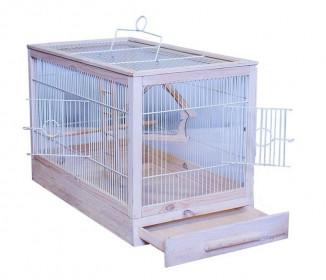 ДАРЭЛЛ Клетка для птиц Ретро - кантри средняя, деревянная, цвет белый, 56х30х35