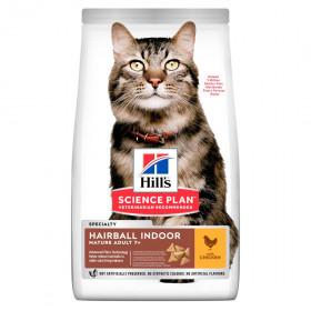 Hill's Science Plan сухой корм для выведения шерсти у домашних кошек старше 7 лет, с курицей