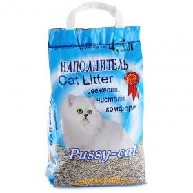 PUSSY CAT наполнитель впитывающий минеральный синий, 4,5 л