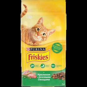 Purina Friskies, Сухой корм Friskies для взрослых кошек, с кроликом и полезными овощами, Пакет