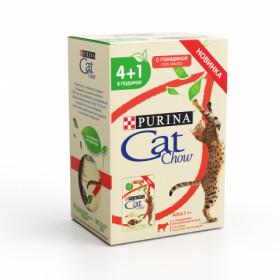 Purina Cat Chow, влажный корм,набор 4+1 для взрослых кошек пауч 5 х 85 гр с говядиной и баклажанами