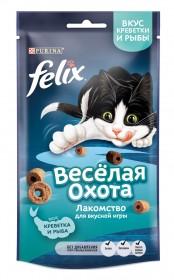 Felix (Феликс) Весёлая охота. Корм сухой неполнорационный для взрослых кошек, со вкусом креветки и рыбы