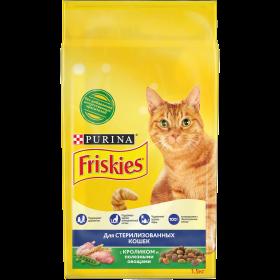 Purina Friskies, Сухой корм Friskies для взрослых стерилизованных кошек, с кроликом и полезными овощами, Пакет