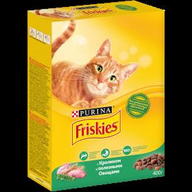 Purina Friskies, Сухой корм Friskies для взрослых кошек, с кроликом и полезными овощами, Коробка