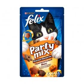 Felix Party mix Сырный микс 60г для кошек со вкусами сыров чедер, гауда и эдам