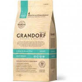 Сухой корм GRANDORF 4 Мяса с рисом Indoor для взрослых кошек от 1 года с нормальной активностью