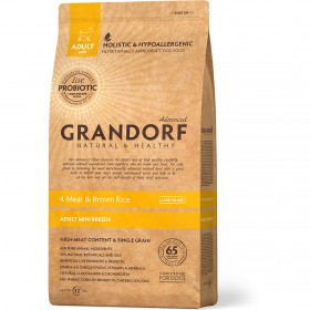 Сухой корм GRANDORF 4 Мяса с рисом Мини для собак мини пород от 1 года