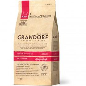 Сухой корм GRANDORF Ягнёнок с рисом Indoor для взрослых кошек от 1 года с нормальной активностью