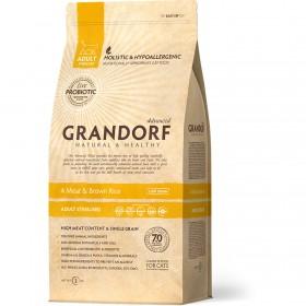 Сухой корм GRANDORF 4 Мяса с рисом Sterilised для взрослых стерилизованных или пожилых кошек от 1 года