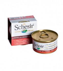 Schesir консервированный корм для кошек с тунцом, говядиной и рисом 85г