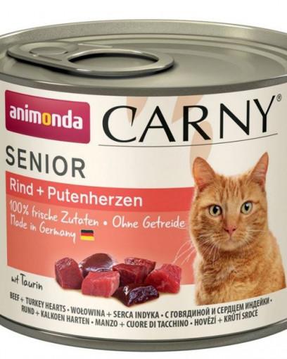 ANIMONDA CARNY SENIOR консервы для пожилых кошек с говядиной и сердцем индейки 200 гр.