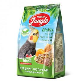 HAPPY JUNGLE Корм для средних попугаев при линьке