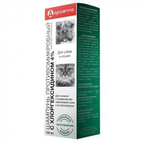Apicenna Шампунь с хлоргексидином 4%, 150 мл