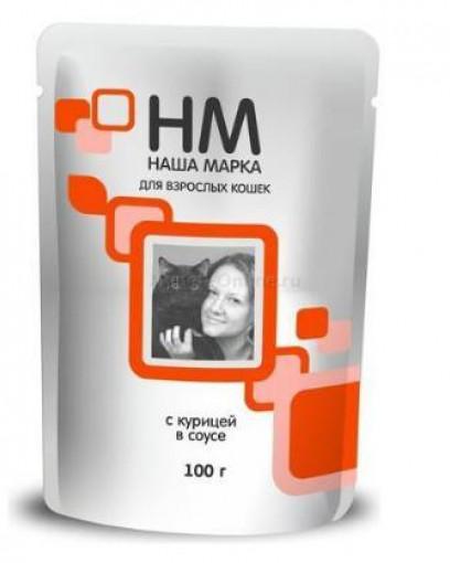 Наша Марка консервированный корм для кошек с курицей Пауч 100г