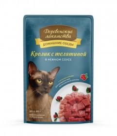 ДЕРЕВЕНСКИЕ ЛАКОМСТВА влажный корм для кошек с кроликом и телятиной в нежном соусе, 85г