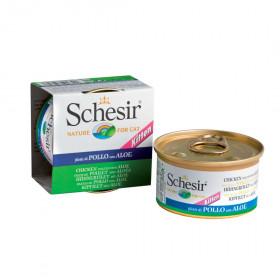 Schesir консервированный корм для котят с курицей и алоэ (кусочки в желе) 85г