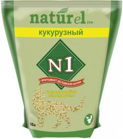 """№1 Naturel """"Кукурузный"""" наполнитель растительный комкующийся, 4,5 л"""