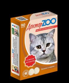 Доктор ZOO Мультивитаминное лакомство для кошек со вкусом копченостей, 90 табл.