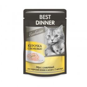 """Best Dinner Exclusive Мусс сливочный """"Курочка с морковью"""" влажный корм для кошек и котят с 1 месяца, 85 г, пауч"""
