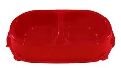 Миска FAVORITE пластиковая двойная нескользящая красная, 450 мл