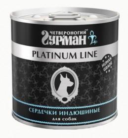 """Четвероногий гурман """"Platinum Line"""" влажный корм для собак сердечки индюшиные в желе, 240г"""