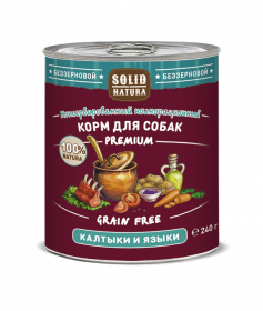 SOLID NATURA Premium консервированный корм для собак, калтыки и языки, 240г
