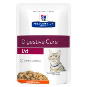 Hill's Prescription Diet I/D Digestive Care влажный корм (пауч) для кошек при расстройстве пищеварения, с курицей, 85г