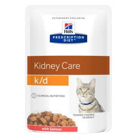 Hill's Prescription Diet K/D Kidney Care влажный корм (пауч) для кошек, хрон.болезнь почек, с лососем, 85г