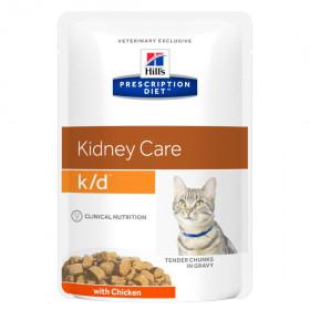 Hill's Prescription Diet K/D Kidney Care влажный корм (пауч) для кошек, хрон.болезнь почек, с курицей, 85г