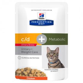 Hill's Prescription Diet C/D Multicare Urinary Stress влажный корм (пауч) для кошек, профилактика цистита и МКБ, в т.ч. вызванные стрессом, с курицей