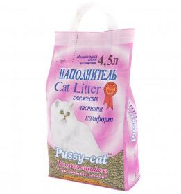 PUSSY CAT наполнитель комкующийся, розовый, 4,5 л