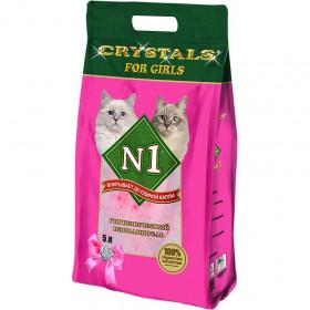 CRYSTAL №1 For Girls наполнитель впитывающий силикагелевый для девочек, 5 л