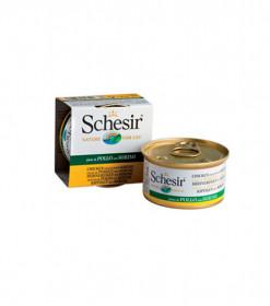 Schesir консервированный корм для кошек с филе курицы с сурими 85г
