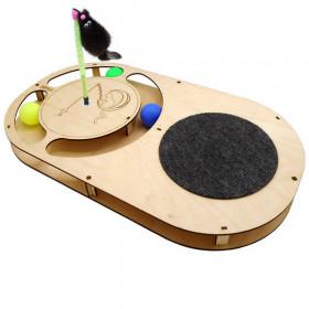 """PETTO Игровой комплекс для кошек """"Овал с шариками, площадка из ковра, игрушка на пружине, когтеточка"""""""