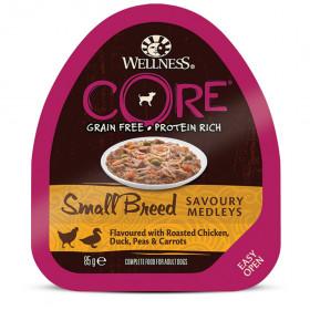 Wellness CORE SMALL BREED консервы из курицы с уткой, горошком и морковью для собак мелких пород 85 гр