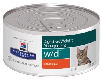 Hill's Prescription Diet W/D Digestive влажный корм для кошек, поддержание веса, и при сахарном диабете, с курицей, 156г